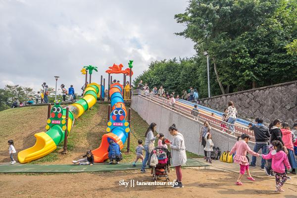 桃園親子景點【陽明運動公園】毛毛蟲特色溜滑梯