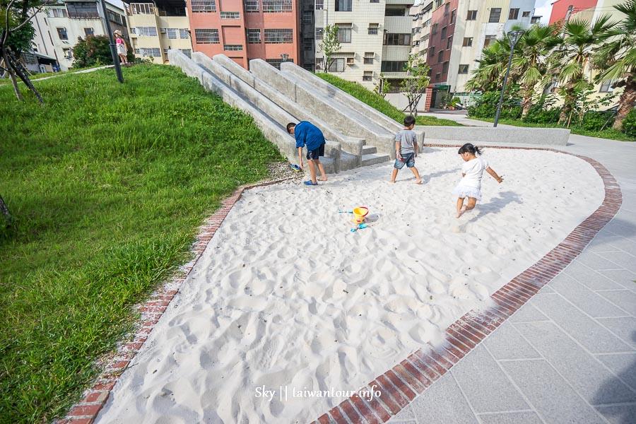 台中親子景點【東昇公園(細兒215公園)】西區復古滑石子溜滑梯