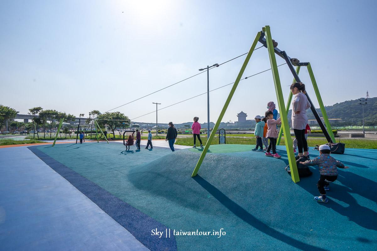 2020台北親子景點【大佳河濱共融公園】免費玩沙.溜滑梯.玩水
