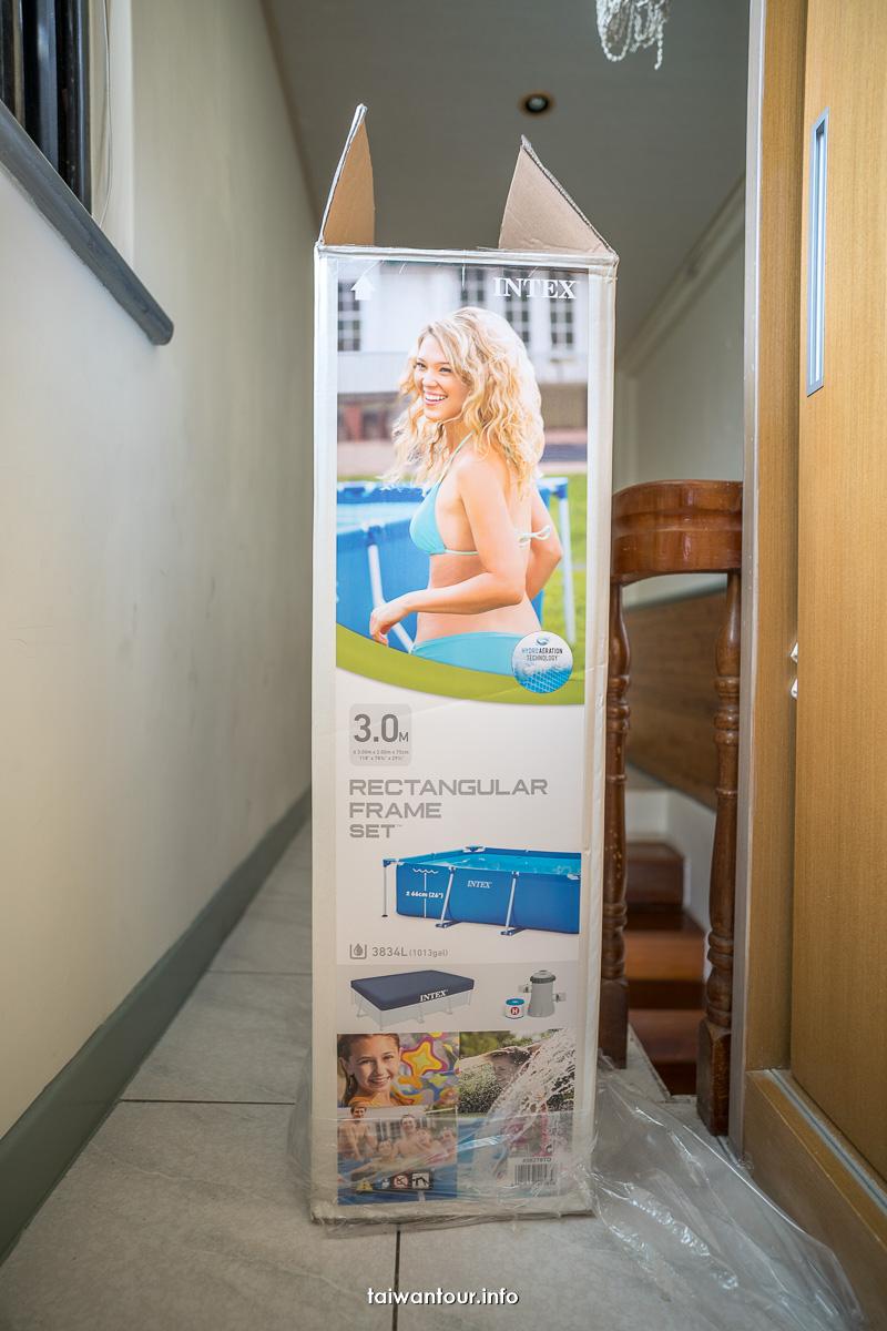 【好市多costco Intex游泳池】評價優點.缺點.維護費用金屬支架方形泳池