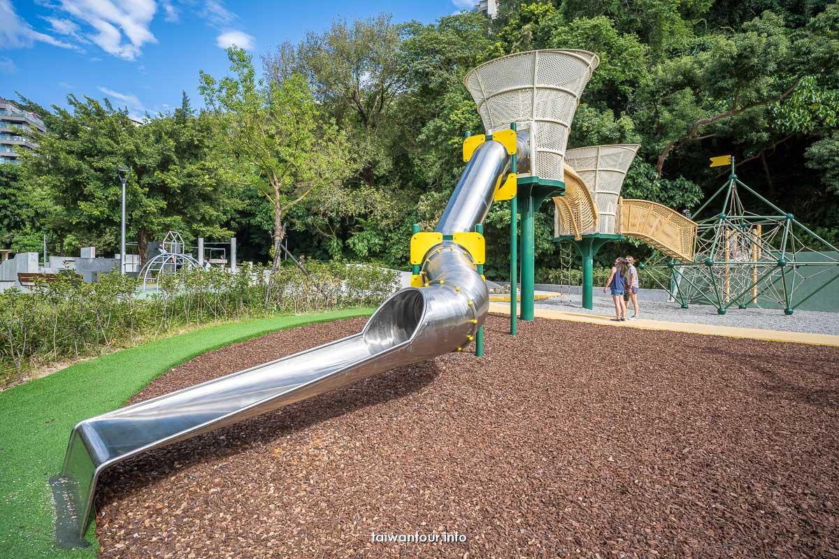 【天母公園】兒童特色遊戲場跑酷運動場.沙坑.旋轉鞦韆.彈跳床